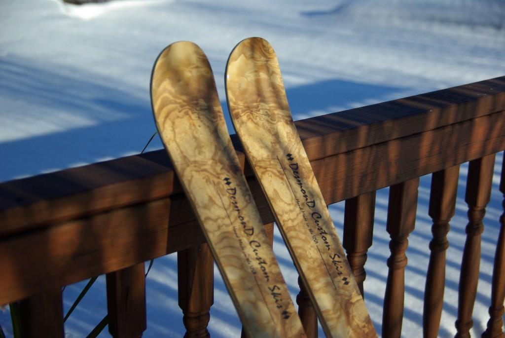 Skis resting on railing